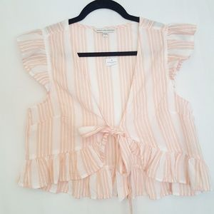 AEO  Striped Ruffle Tie Front Crop Top